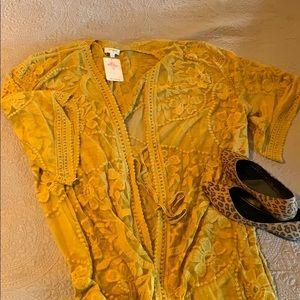 Umgee Mustard Lace Kimono L